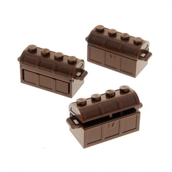 3 x Lego System Schatztruhe Schatz Truhe braun 2x4 Schatzkiste Rückseite mit Schlitz Deckel für Piraten Castle Ritter Burg Treasure Chest 4739 4738a