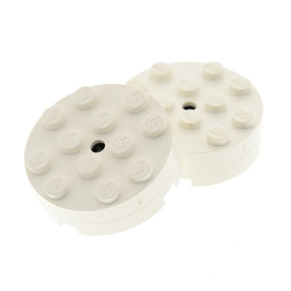 2 x Lego System Rund Stein weiss 4x4 Drehscheibe glatt old Typ Rundstein Turntable Scheibe 371 3404bc01