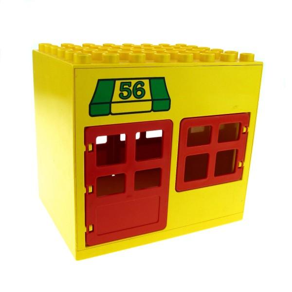1 x Lego Duplo Gebäude Post Amt gelb rot 6x8x6 gross mit Nr. 56 Haus Laden Puppenhaus mit Fenster Tür Tor 2206 2205 2208 2204pb02