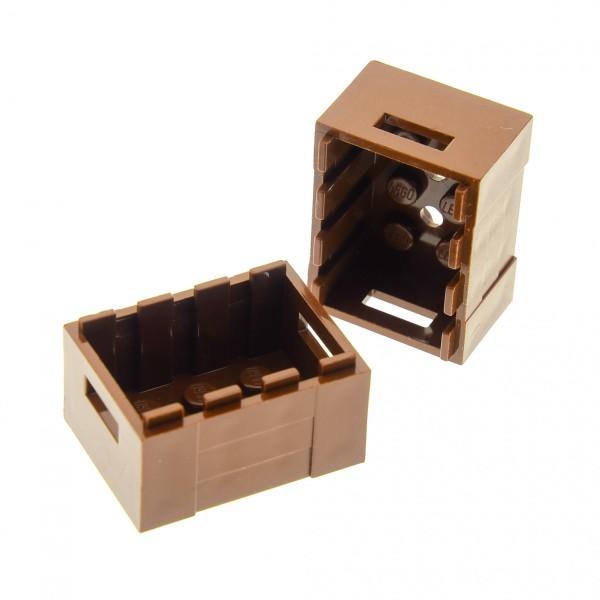 2 x Lego System Kiste braun Kisten Korb Container Box für Piraten Castle Eisenbahn Ritter 30150