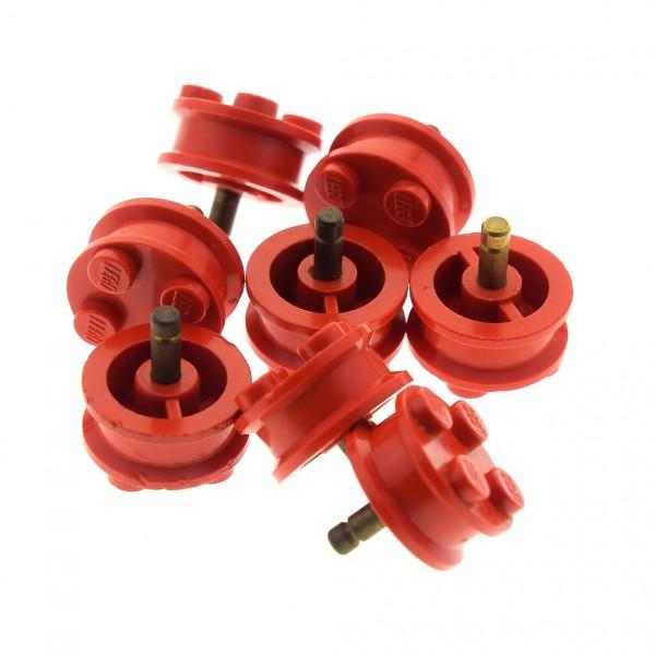 8 x Lego System Rad Felge old rot solo 2x2 Noppen Räder Achse Stift Pin Auto Anhänger Wagen 7039