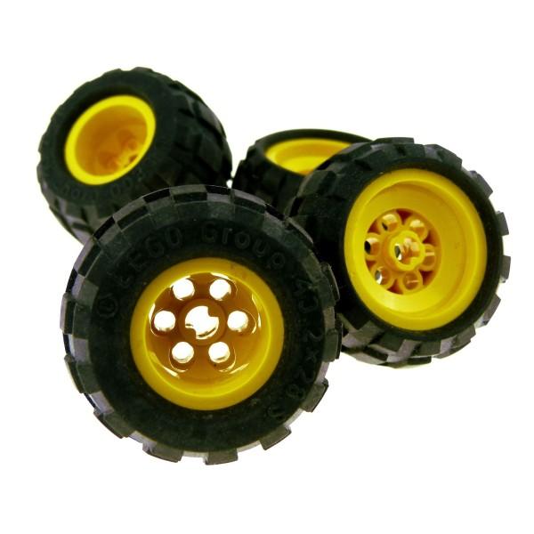 4 x Lego Technic Rad schwarz gelb 43.2x28 S Räder Felge Ballon Reifen komplett Auto LKW Technik Auto Fahrzeug 6579 6580c01
