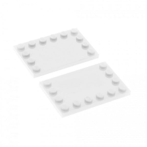 2x Lego Bau Platte weiß 4x6 Fliese Noppen am Rand 4163986 6180