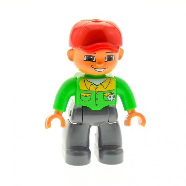 1 x Lego Duplo Figur Mann Vater Hose neu-dunkel grau Hemd bright hell grün gelb Mütze Basecap rot LKW Fahrer Mechaniker Mund offen 47394pb101