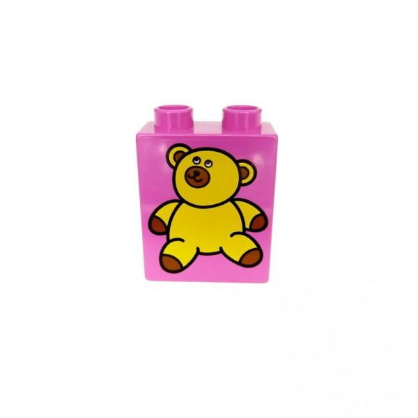 1 x Lego Duplo Motivstein rosa pink 1x2x2 bedruckt Teddy orange braun Bär Bild Bau Stein 4066pb080