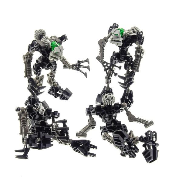 2 x Lego Bionicle Figuren und Teile Set für Modell Technic Toa 8532 Onua grau schwarz incomplete unvollständig