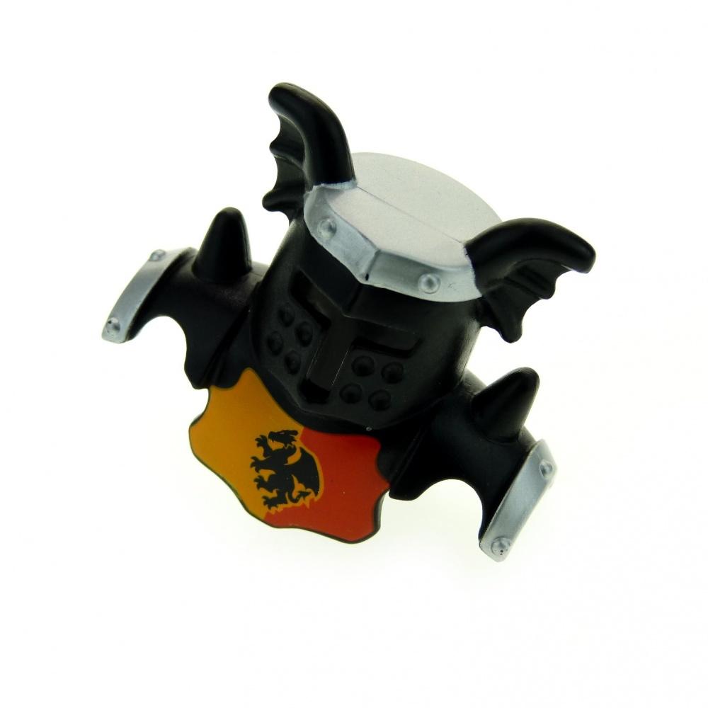 1 x Lego Duplo Knight Figure Helmet Black Shields Silver Grey with Dragon for