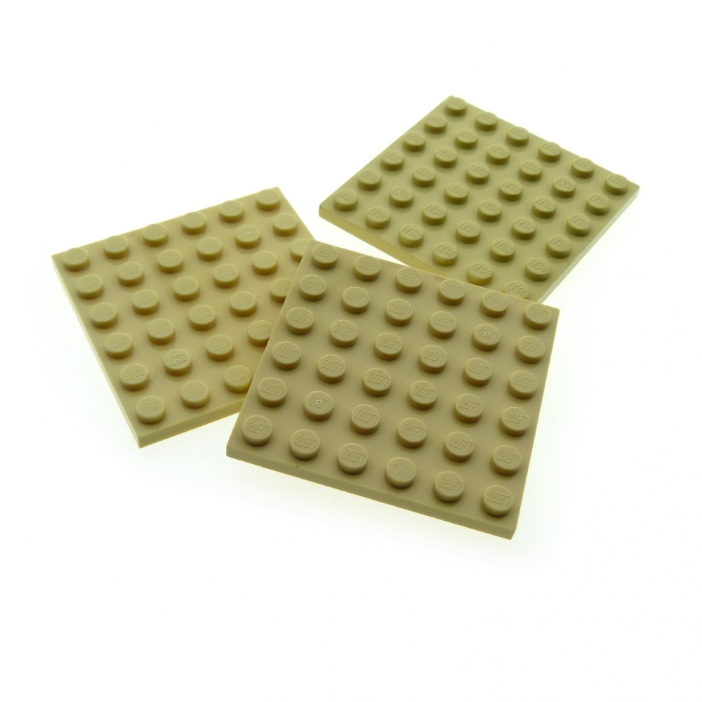 2x Lego Construction Plate 6x6 Dark Beige Tan Sw 10937 79004 9450 4530712 3958