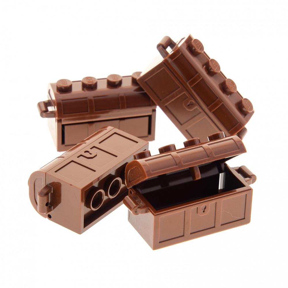 4x Lego Schatztruhen Truhe rot braun 2x4 Schatzkiste Piraten 4211162 4739 4738a