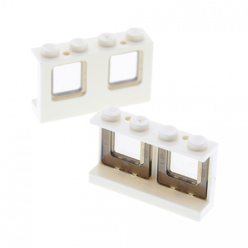 LEGO Lot of 2 White 1x4x2 Airplane Windows with Black Glass