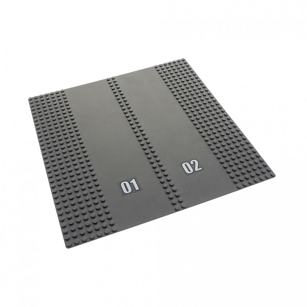 "Lego Base Plate 32 x 32 Studs Dark Grey Road 2 Drive Ways /""01 02/"" 30225c01"