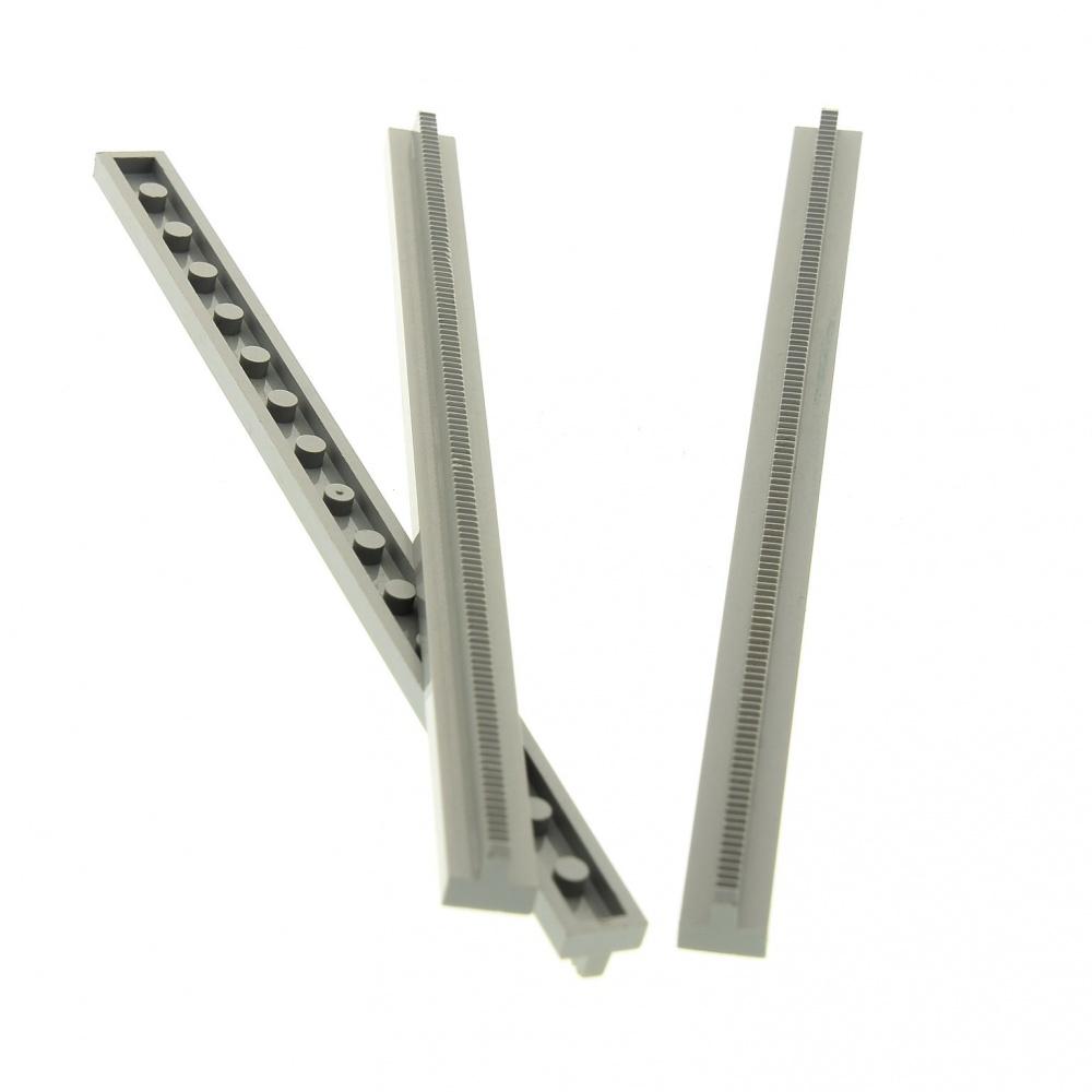 2 x Lego System Schiene neu-dunkel grau 16L gerade keine Schlitze keine Kerben