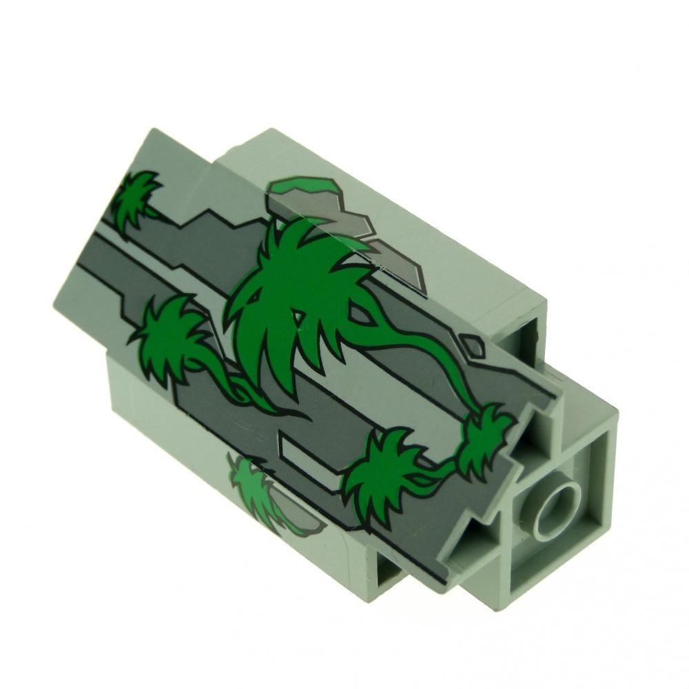 1 X Lego System Mauerteil Alt-hell Grau Grün 3x3x6 Mauer
