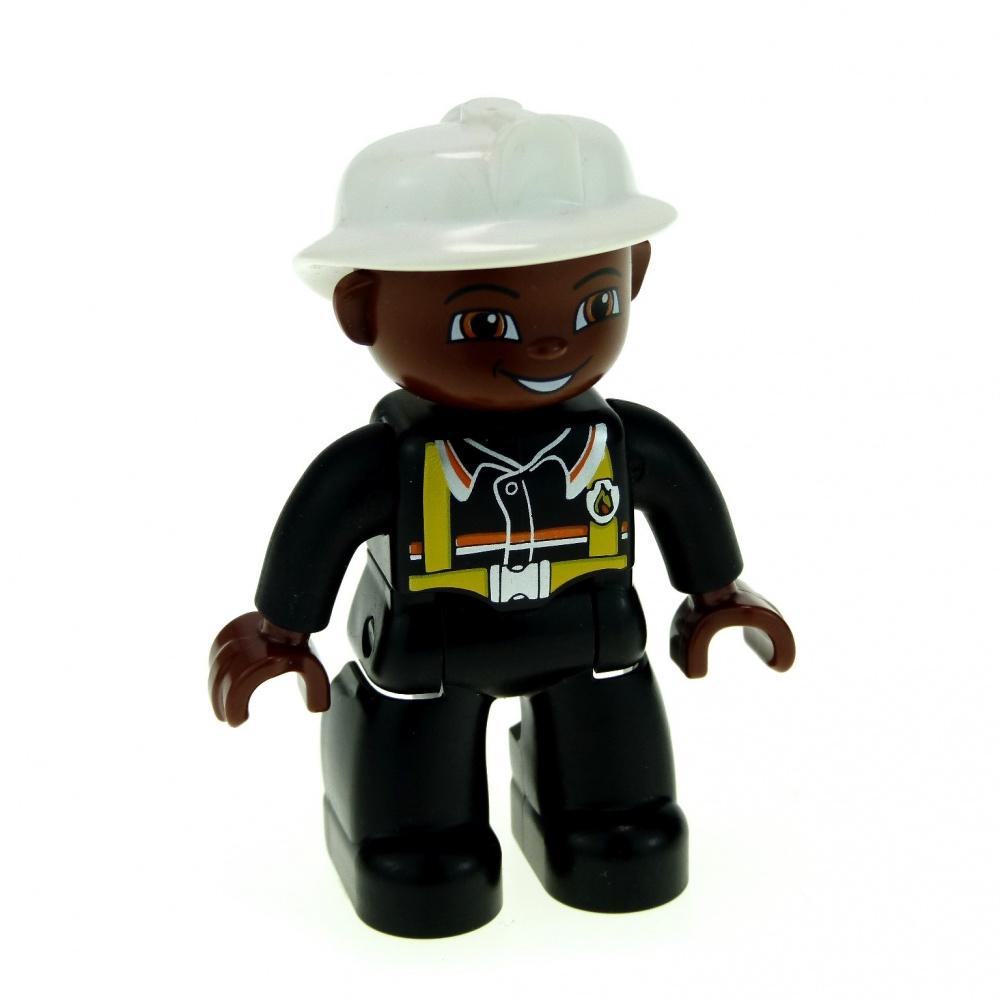 1x Lego Duplo Figurine Fire Man Black Suspenders Hands Braun 47394pb076