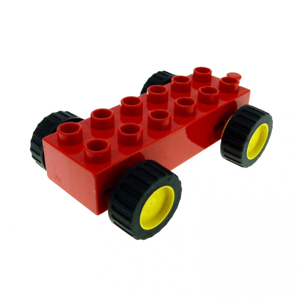 LEGO Duplo-Fenêtre Voiture Véhicule-Rouge-Bloc de Construction-motif Pierre