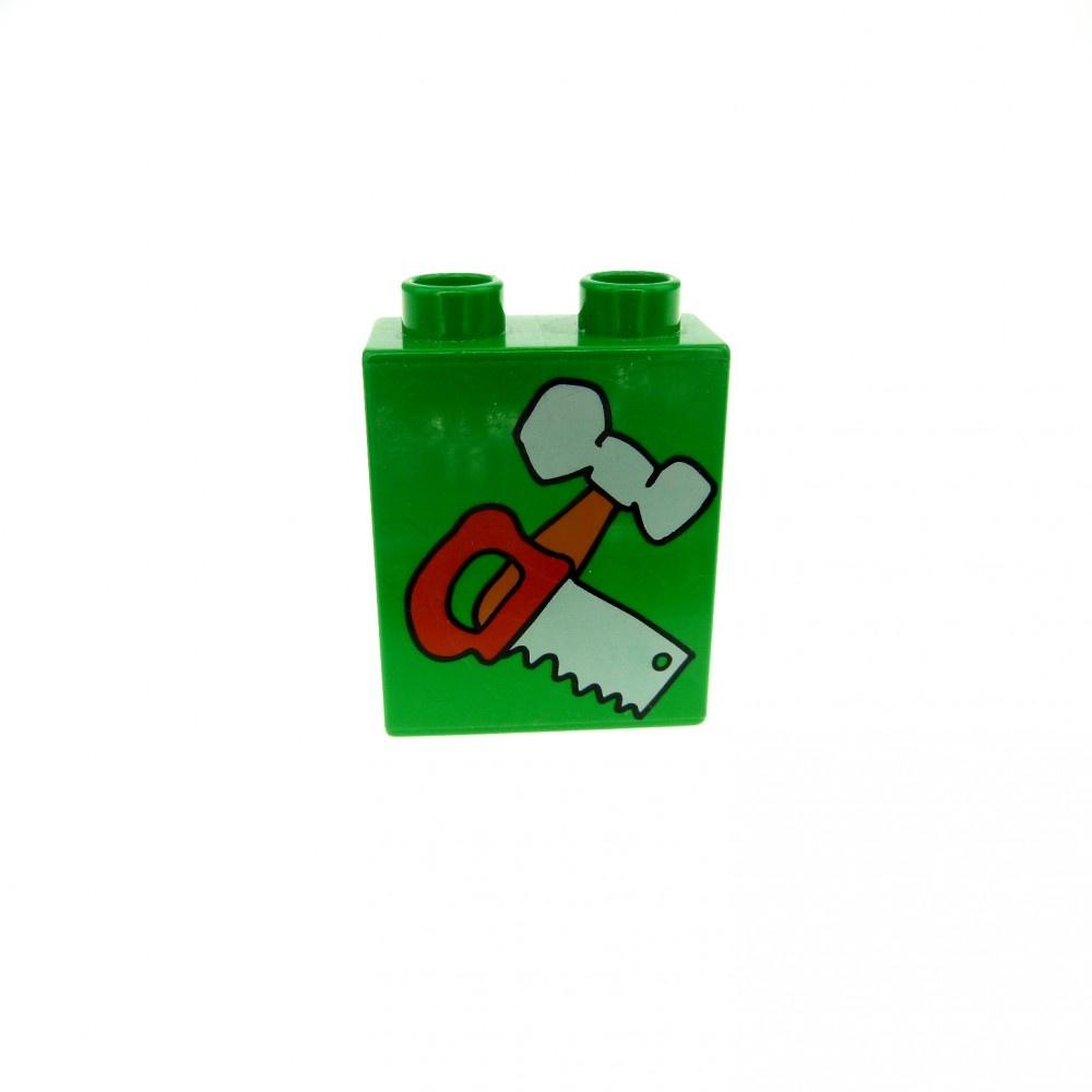 1 x Lego Duplo Motivstein grün 1x2 bedruckt Werkzeug Hammer Säge Bild Stein 4066