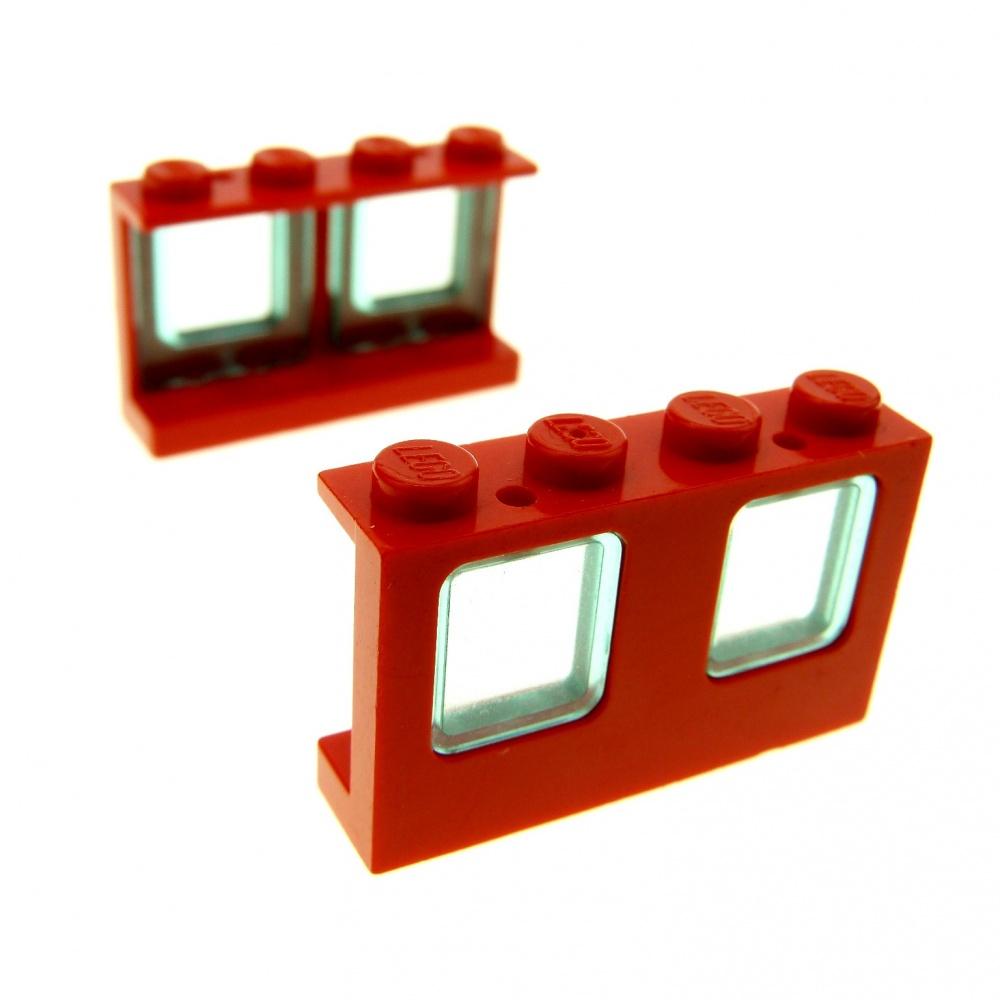 2 x Lego doppel Fenster creme weiss transparent schwarz 1x4x2 Flugzeug 4862 4863